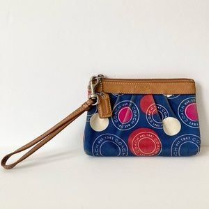 Coach Red White & Blue Pleated Wristlet